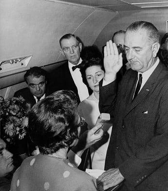 Lyndon B. Johnson taking the oath of office in 1963
